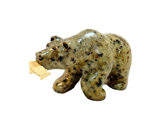 Carved Soapstone Bear with Fish