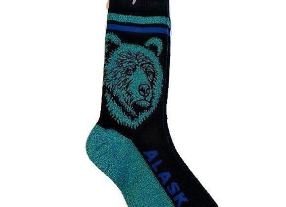 Unisex Teal Bear Head Socks