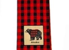 Buffalo Plaid Bear Hand Towel