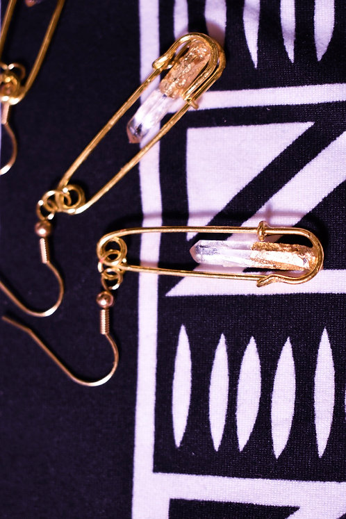 Safety Pin clear quartz wand earrings