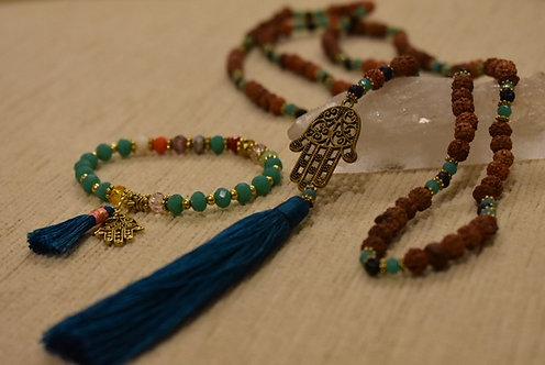 Turquoise Mala beaded necklace and bracelet