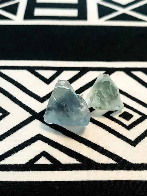 """""""I AM Truth"""" Aquamarine raw crystal studs"""