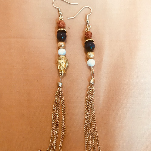 Blue Tigers Eye Buddha Tassel Earrings