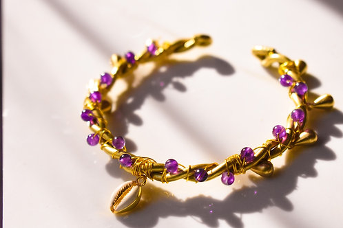 Handmade Brass bracelet with amethyst and cowrie shell