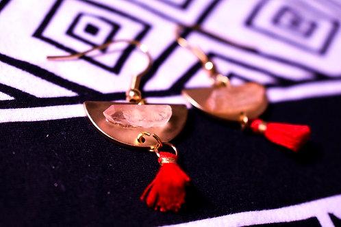 Quartz charm earrings