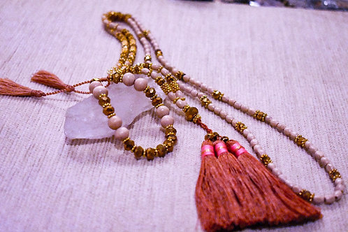 Opal white mala necklace  with bracelet