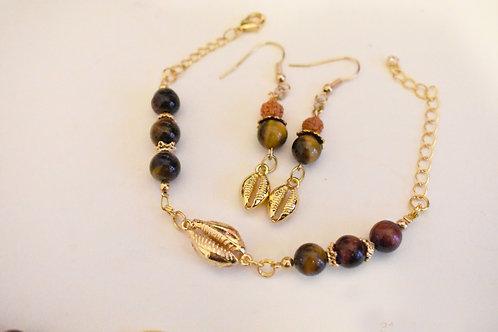 Tigers eye  crystal mala bracelet