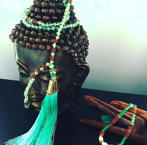 Mint Green handmade mala necklace