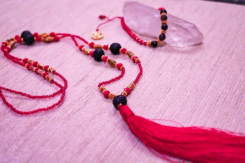 Balinese Red Mala beaded/ lava stone necklace