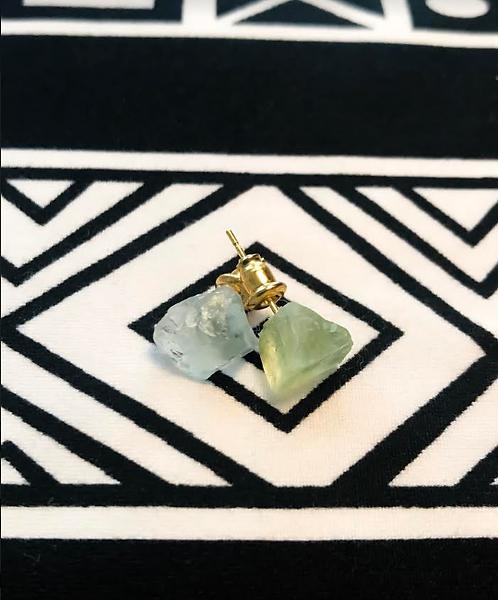 Green Calcite & Aquarmarine studs