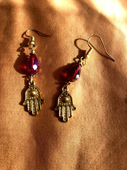 Hand of Fatima red earrings