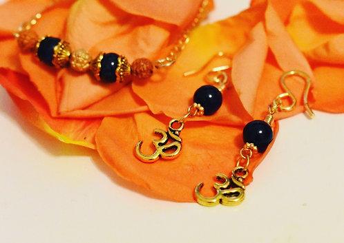 Blue tigers eye OM earrings and matching bracelet