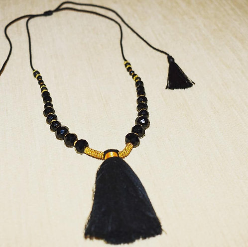 Balinese black bead and tassel necklace