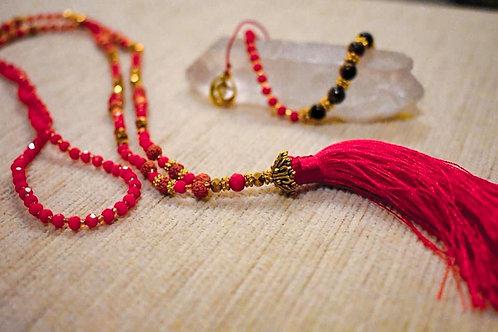 Balinese Mala beaded necklace and bracelet