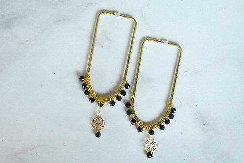 Black tourmaline Sacred Geometry drop earringss