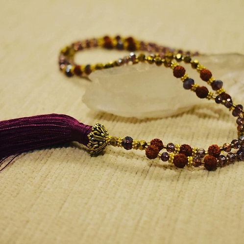 Purple Mala beaded necklace and bracelet