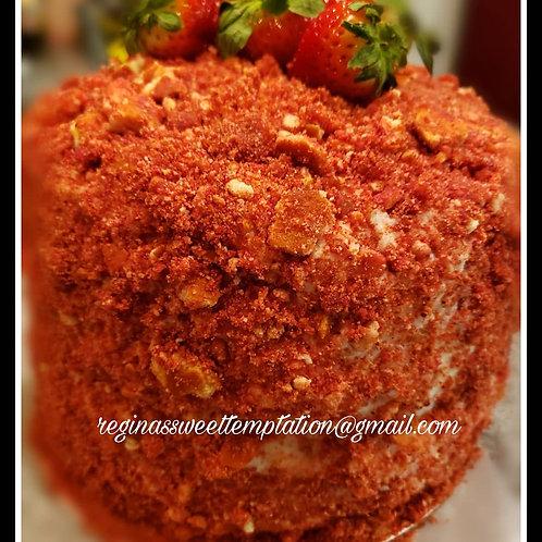 4 layered 8 inch Strawberry crunch cake