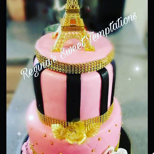 Paris theme cake,  vanilla cake with strawberry filling