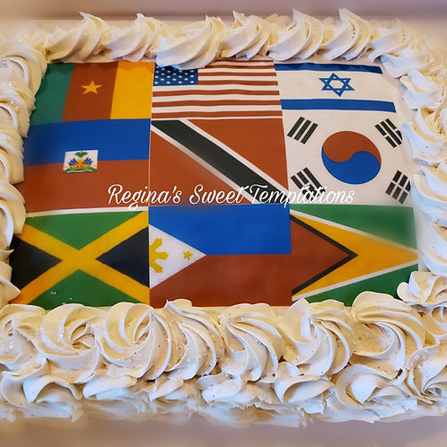 United nation flag vanilla cake