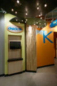 Grace Church STL GraceKids themed halway with Check-In station. DE|SL LLC