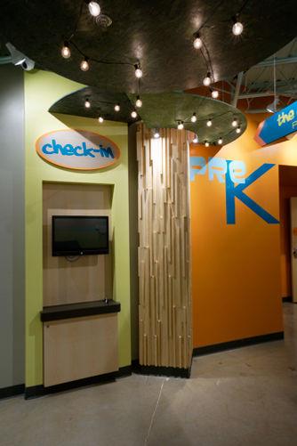 Grace Church STL GraceKids themed halway with Check-In station. DE|SL LLC
