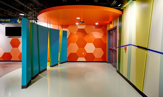 Grace Church St. Louis lower level Themed children's ministry space. DE|SL LLC