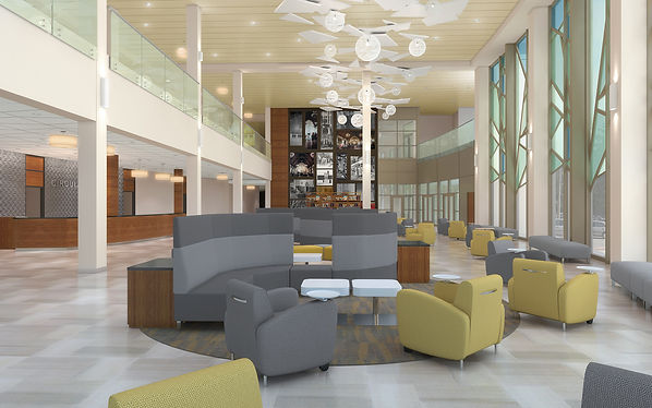 """Lindenwood University interior rendering of """"The Grove"""" lobby and gathering space with a view through the impressionistic """"tree glass"""" curtain wall system. DE