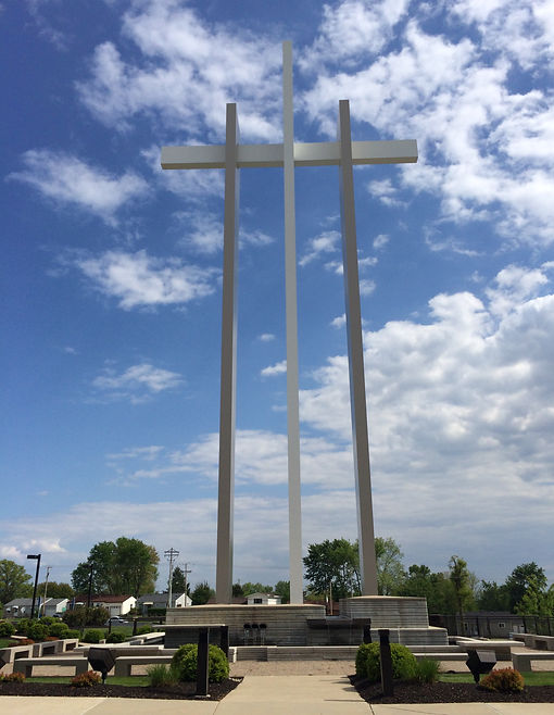 Grace Church St. Louis cross monument and prayer garden waterfall and fountain feature. DE|SL LLC