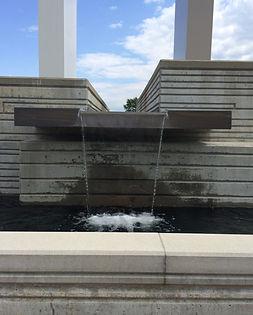 Grace Church St. Louis, waterfall and fountain feature at prayer garden. DE|SL LLC