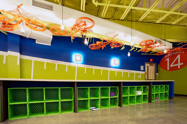 Grace Church St. Louis themed children's classroom with sports focus. DE|SL LLC