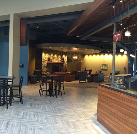 Element Church coffee cafe counter and fireside gathering feature space. DE|SL LLC