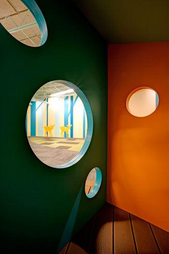 Grace Church STL GraceKids themed young children classroom playhouse with openings. DE|SL LLC