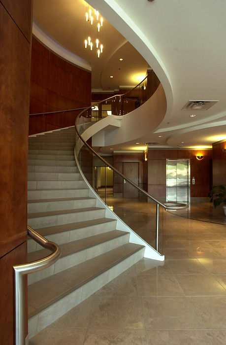 Gorgeous interior design and finishes enhnace the common areas and offices at America West Office Park. DE|SL LLC