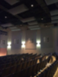 St. Dominic High School Performing Arts Center auditorium with acoustic ceiling treatment and theater seating. DE|SL LLC