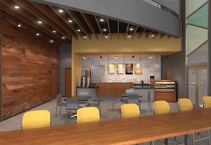Lindenwood University branded coffee cafe interior rendering with wooden wall cladding and ceiling design. DE|SL LLC
