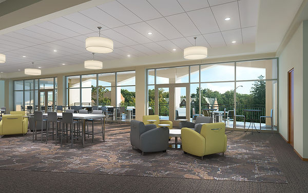 Lindenwood University upper level multi-use Community space with connection and view to covered terrace. DE|SL LLC