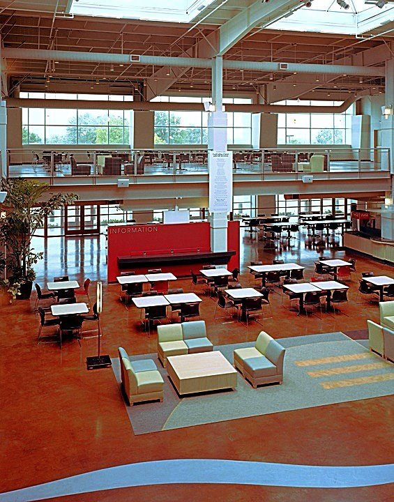 Grace Church Atrium and food court/coffee cafe lounge gathering space seating and skylights. DE|SL LLC
