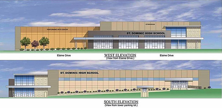 St. Dominic High School gym and multi-purpose addition design rendering. DE|SL LLC
