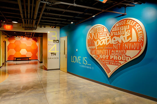Grace Church St. Louis scriptually inspired children's themed hallway. DE|SL LLC