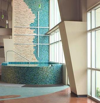"Grace Church STL ""mosaic"" tile concurse baptistery along massive window wall. DE|SL LLC"