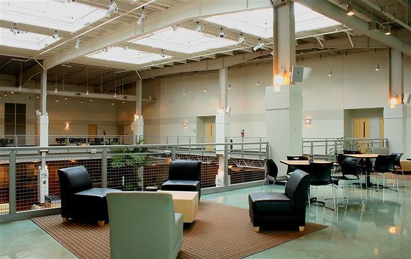 Grace Church St. Louis second floor atrium balcony skylit gathering space. DE|SL LLC