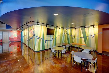 Grace Church St. Louis GraceKid's atrium connection to the newly themed space. DE|SL LLC