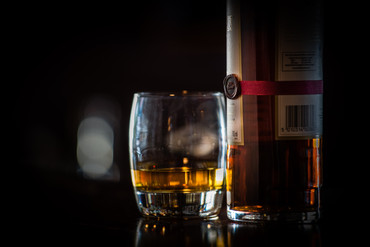 Whisky and glass