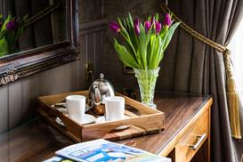 Hotel bedroom tea tray