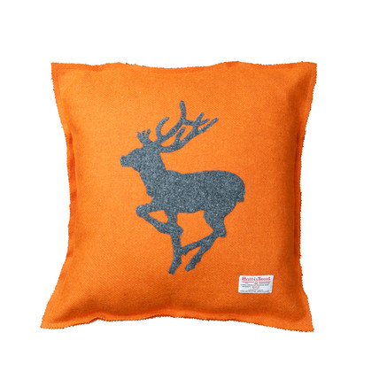Harris Tweed cushion with running stag motif