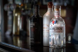 Gin bottles on bar counter