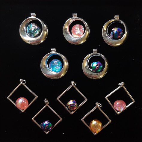 Pendants with silver plated frame
