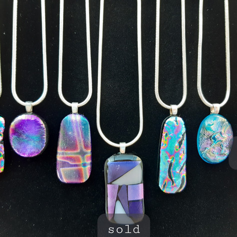 Glass and sterling silver pendants