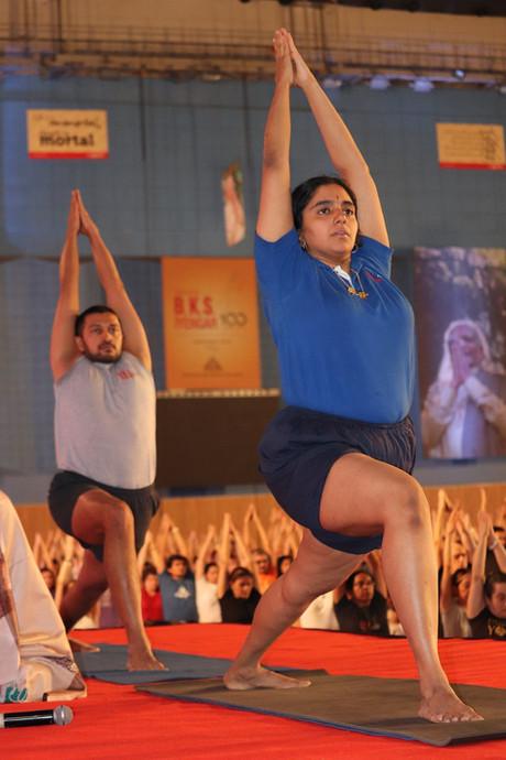 Raya and Abhijata. Iyengar Yoga Convention, Pune 2019.