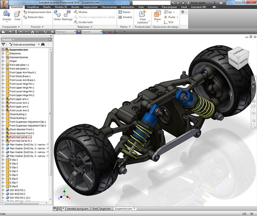 Suspensión en 3D modelada con Inventor